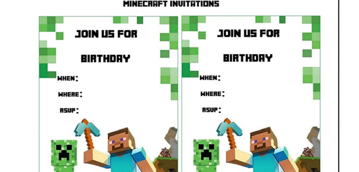 Free Minecraft Printable Invitations for beautiful invitation design