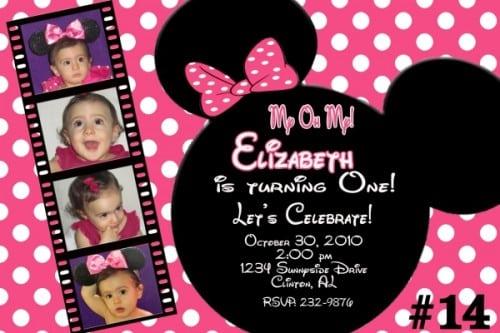 Minnie Mouse Custom Birthday Invitations