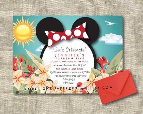 Minnie Mouse Luau Invitations