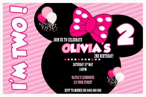 Minnie Mouse Personalised Birthday Invitations