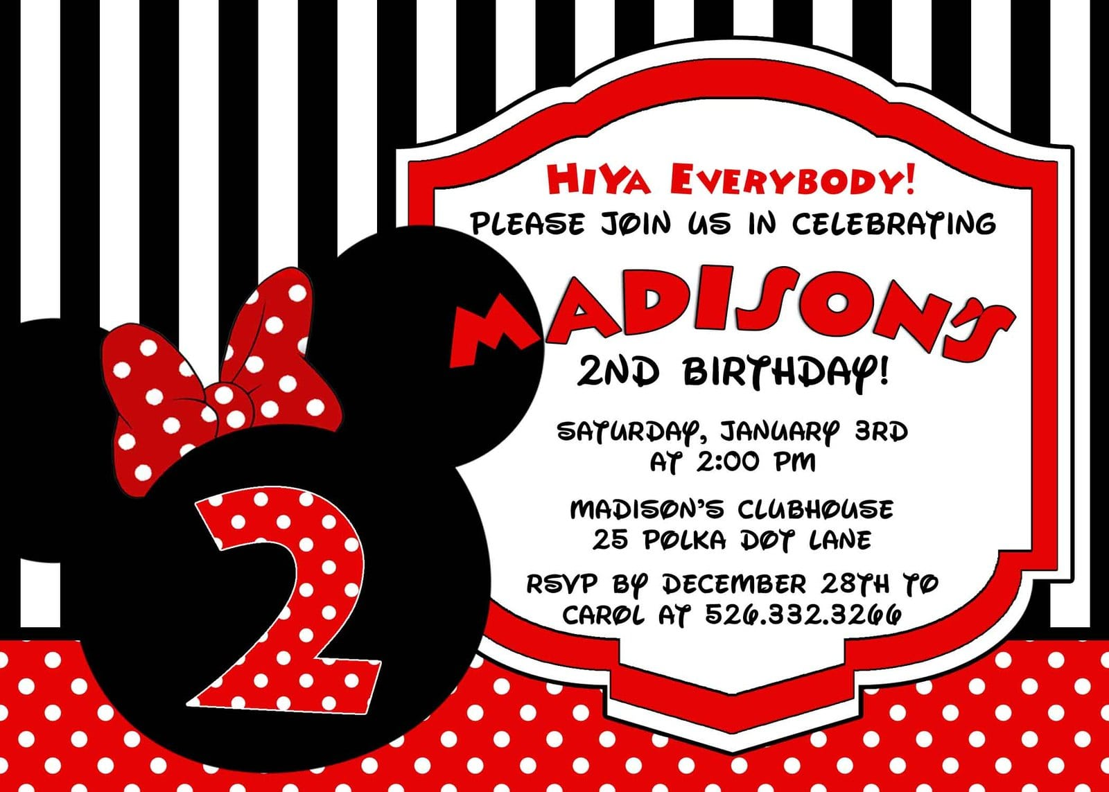 Minnie Mouse Personalized Birthday Invitation