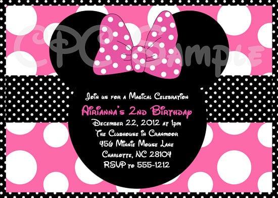 Minnie Mouse Sample Invitation