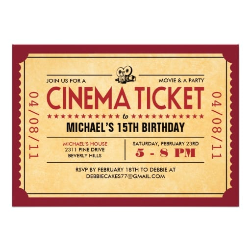 Invitation Ticket Template Free – Movie Ticket Template Free Download