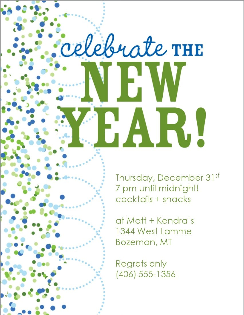 Kid New Years Eve Invite