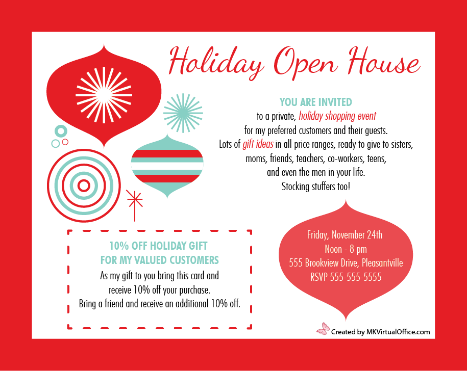 House party invitation template for Open house brochure template