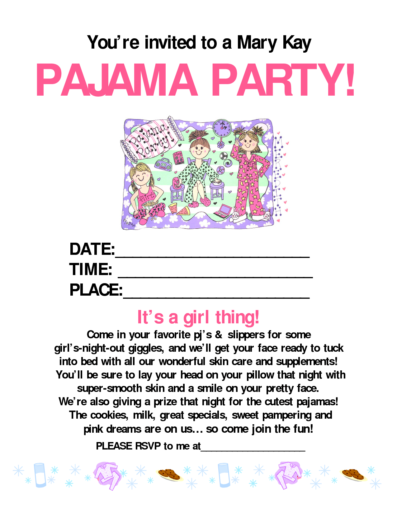 Pajama Party Invitation Template Free