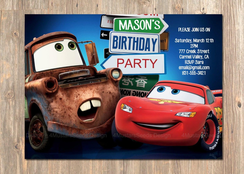 Photo Birthday Invitations Disney Cars