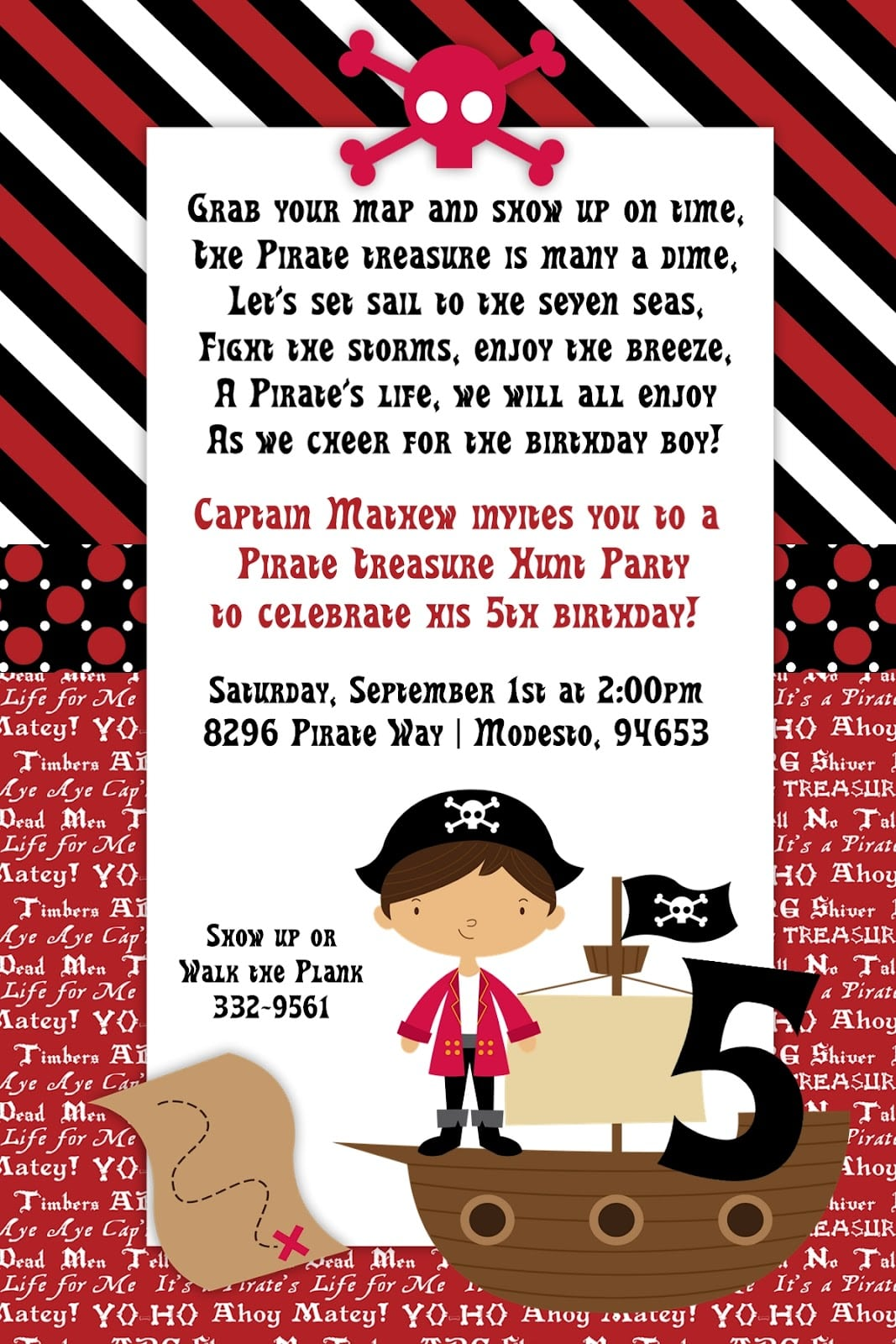 Pirate party kid invitation download pirate party birthday invitations stopboris Image collections