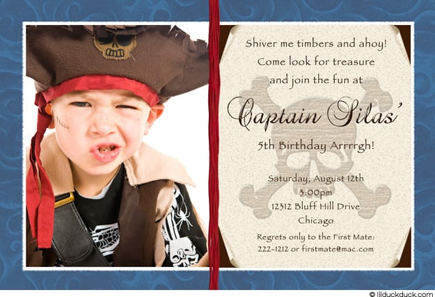 Pirate Themed Birthday Party Invitation Wording