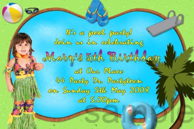 Pool Birthday Party Invitation Wording For Word