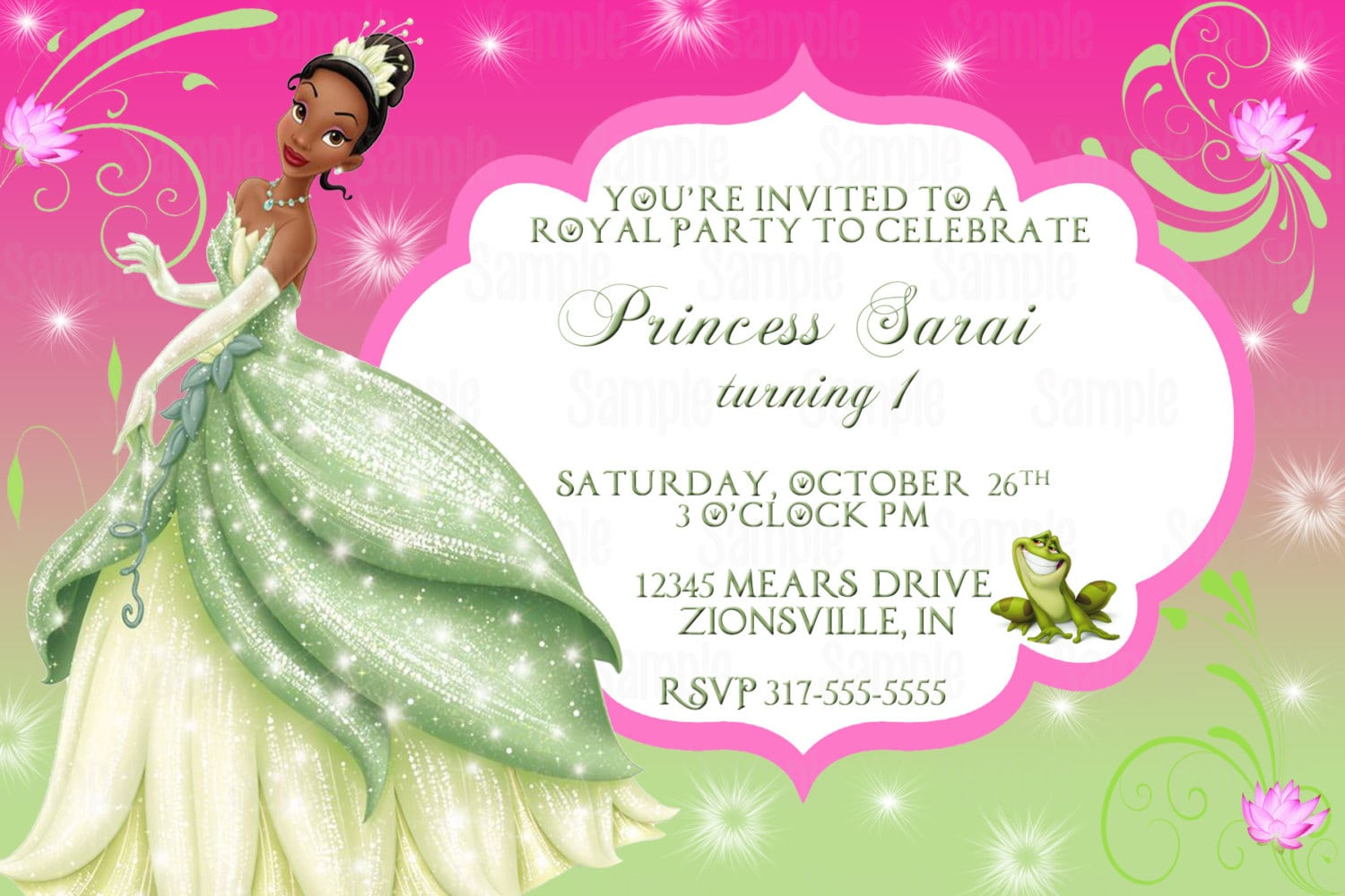 Princess And The Frog Invitation Template