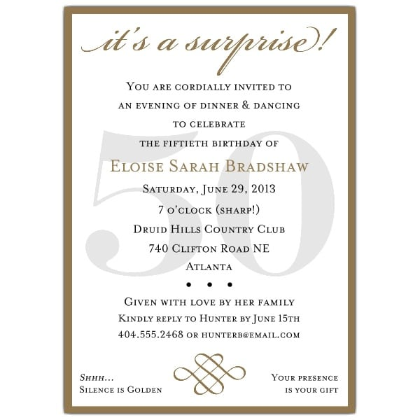 Print Invitation For Surprised 50th Partys