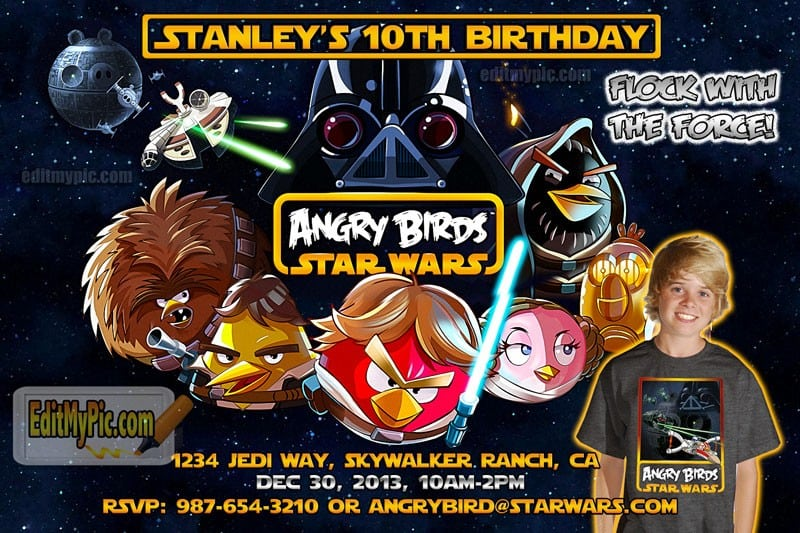 Printable Angry Birds Star Wars Invitations