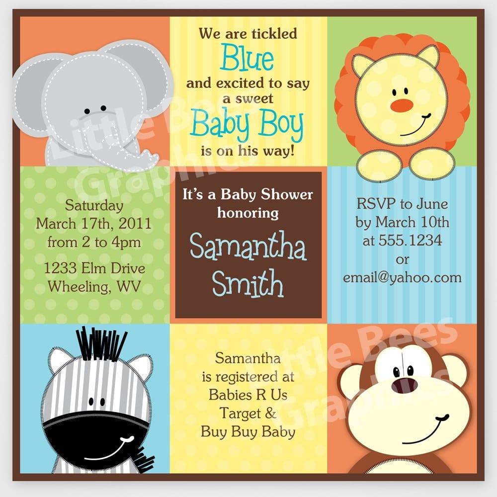 Printable Animal Print Baby Shower Invitation
