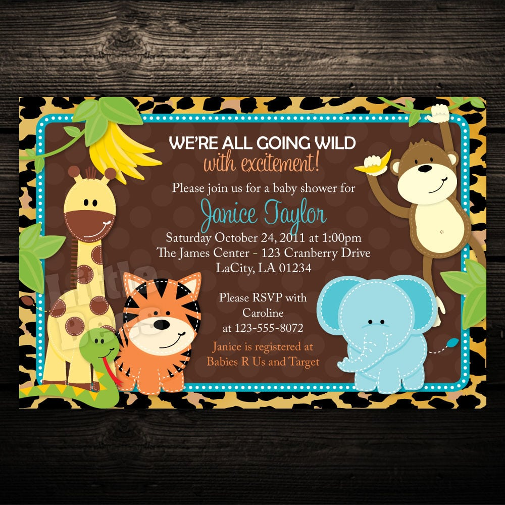 Printable Animal Print Baby Shower Invitations