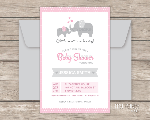 Printable Baby Shower Invitations Elephant