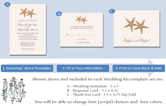 Printable Beach Theme Wedding Invitations