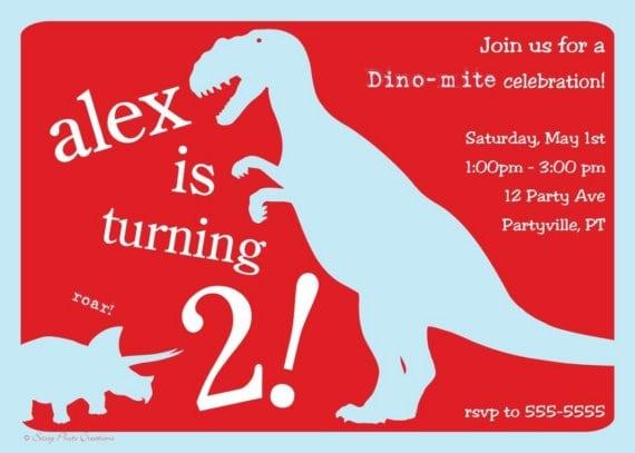 Printable Dinosaur Invitation Cards