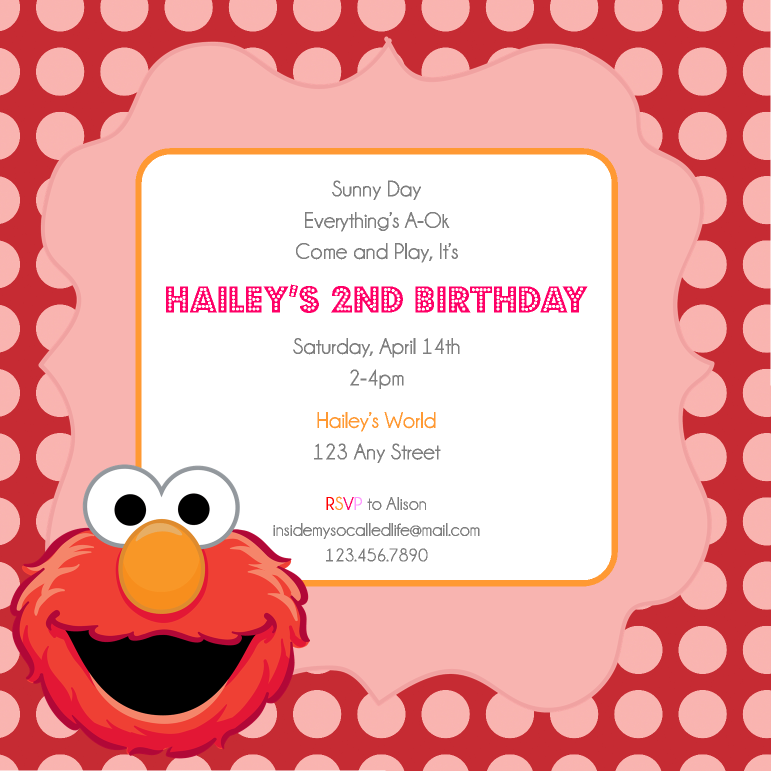 Elmo printable birthday invitation for Elmo template for invitations