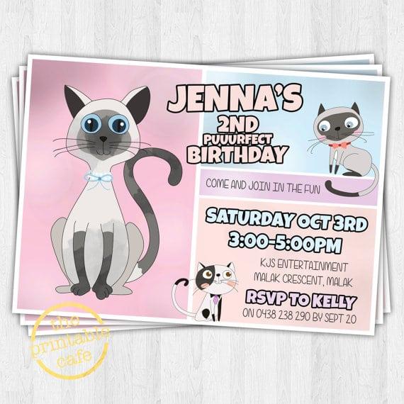 Printable Kitten Party Invitation