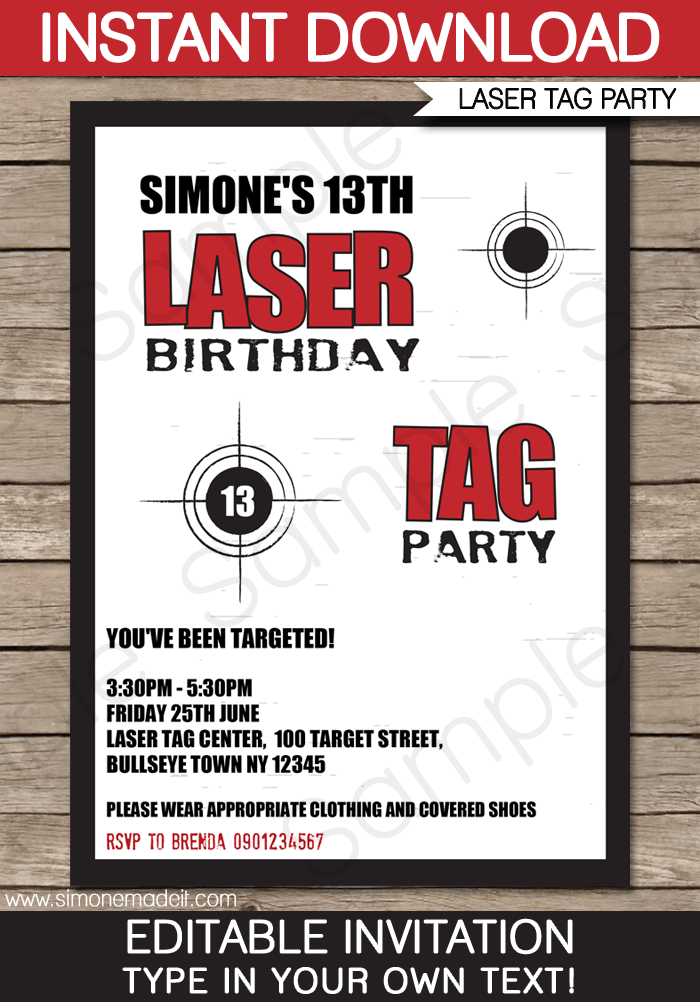 Printable Laser Tag Party Invitation