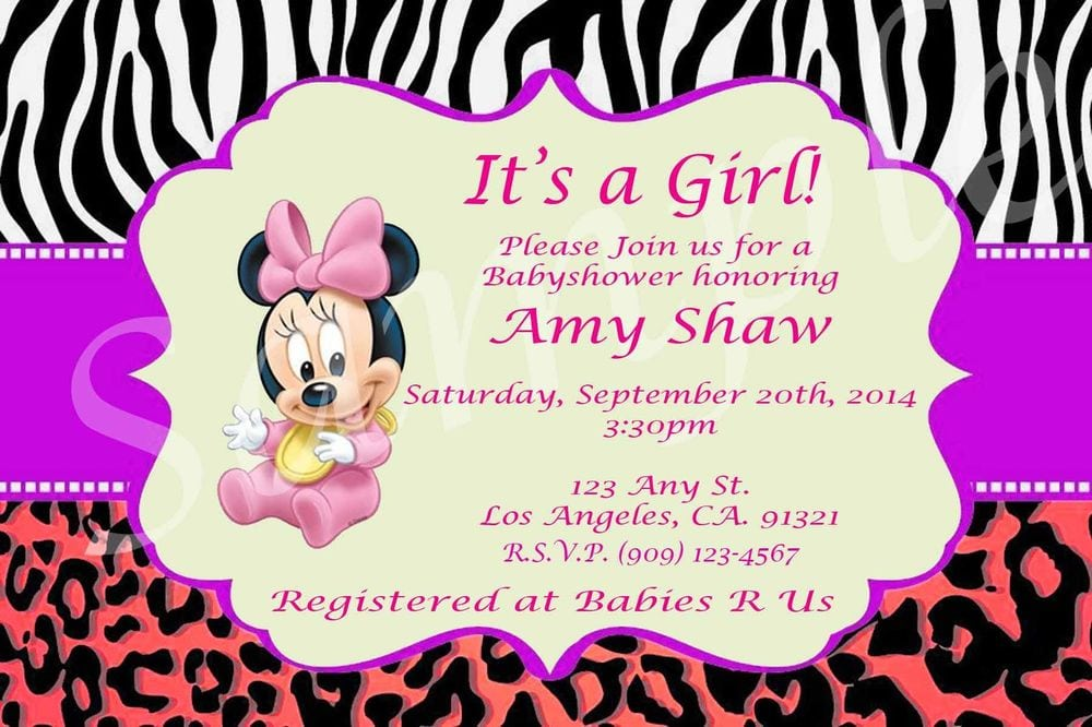 Printable Minnie Mouse Baby Shower Invitations