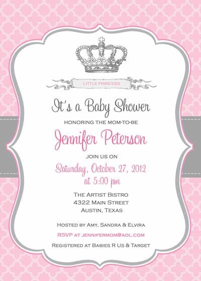Printable Princess Themed Baby Shower Invitation