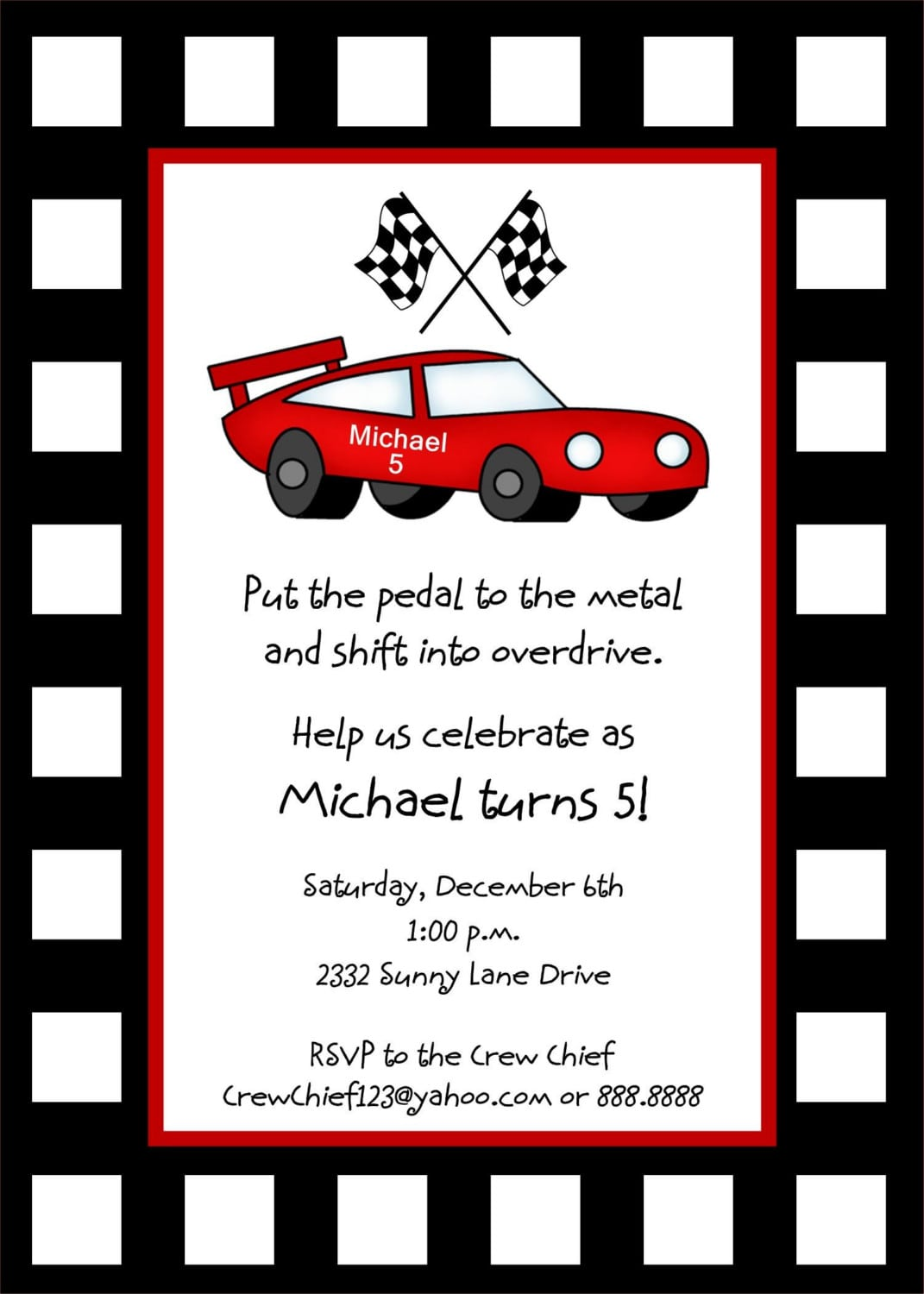 Cars Invitation Card Template Free: Race Car Birthday Invitation Template Free