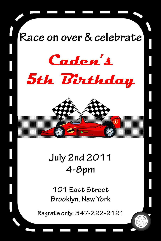 race car birthday invitation template