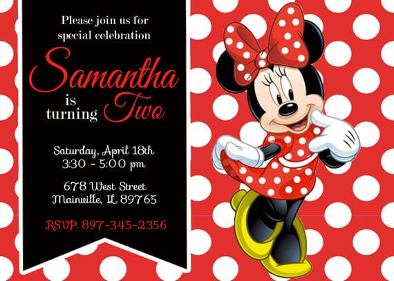 Red Minnie Mouse Printable Invitation