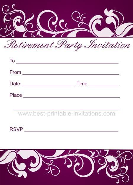 Retirement Invitations Printable Free