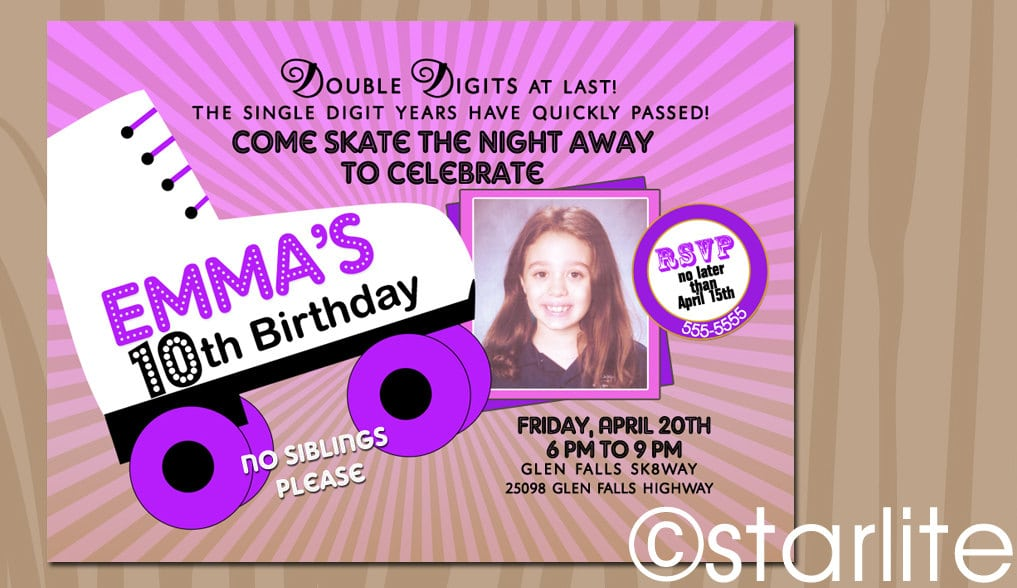 Roller Disco Party Invitation Template – Roller Skating Party Invitation Wording
