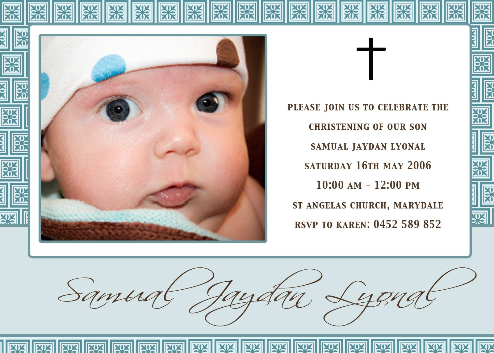Sample Christening Invitation For Baby Boy Template