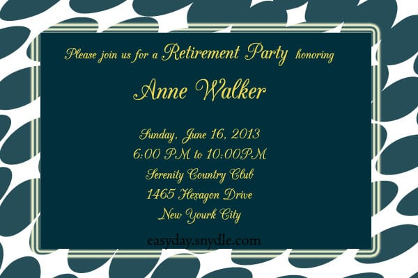 Invitation To A Retierment Party
