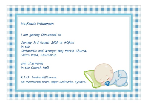 Sample Of Baptismal Invitation For Baby Boy