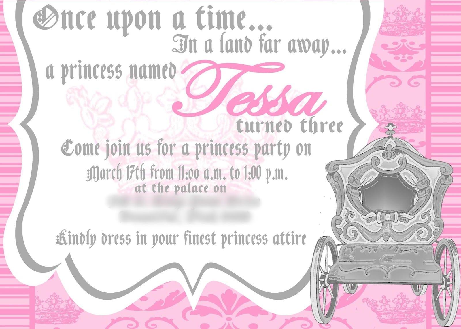 Sample Princess Birthday Party Invitations