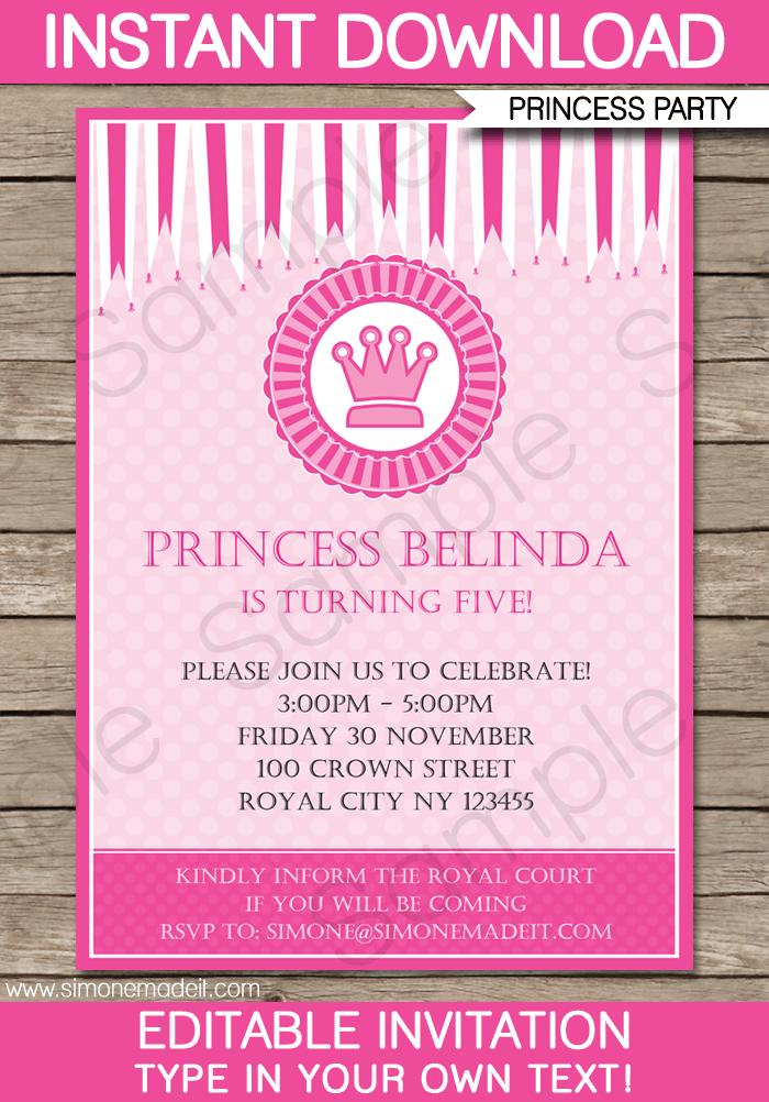 Sample Princess Party Invitation