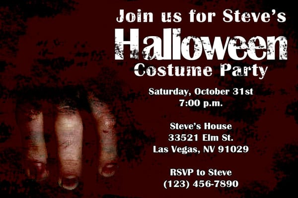 Scary Halloween Party Invitations Templates