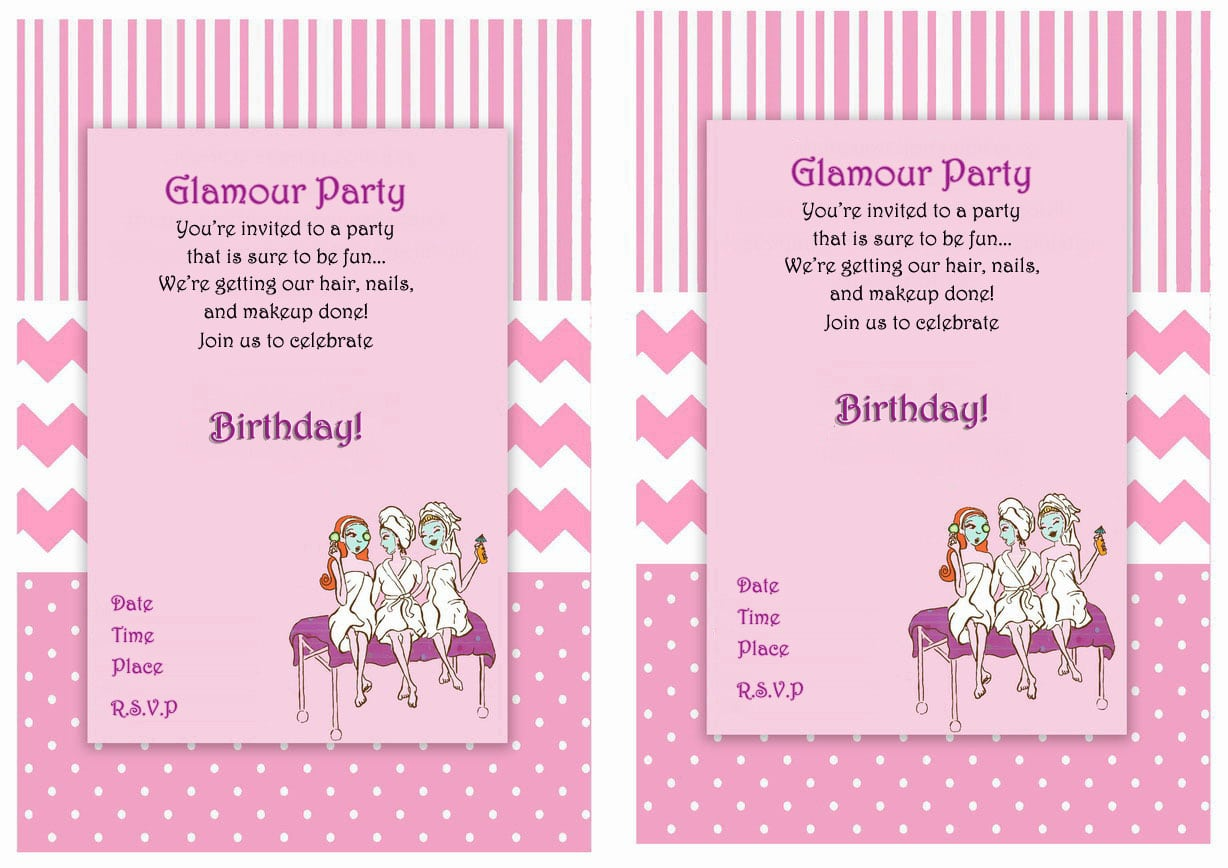 Spa Themed Birthday Party Invitations Printable