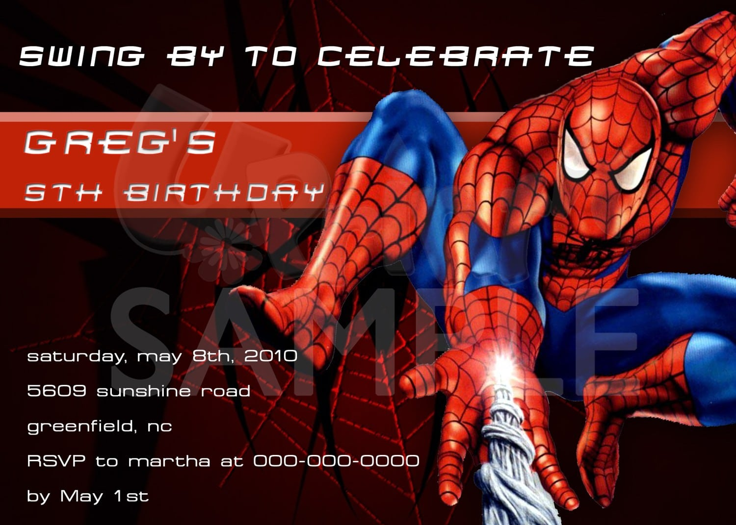 Spider Man Printable Birthday Invitation