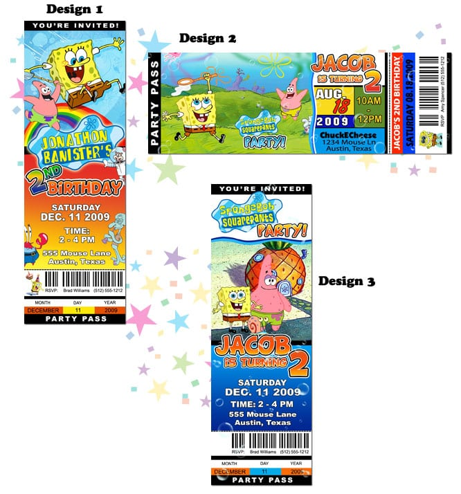 Spongebob Squarepants Birthday Invitation Templates