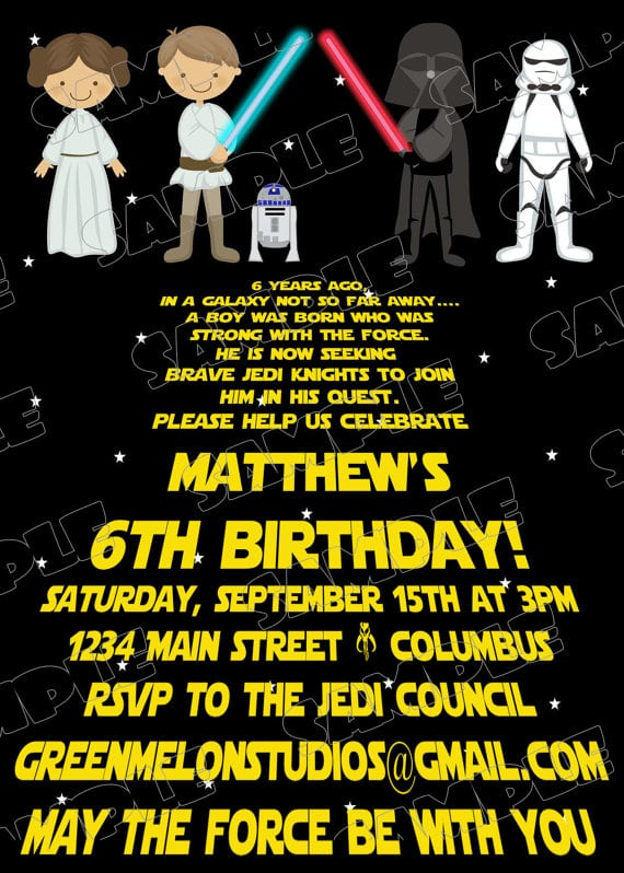 Star Wars Invitations Printable