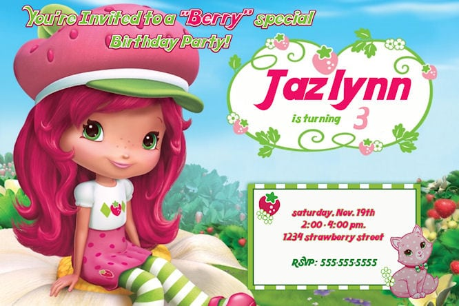 strawberry shortcake invitation free template, Birthday invitations