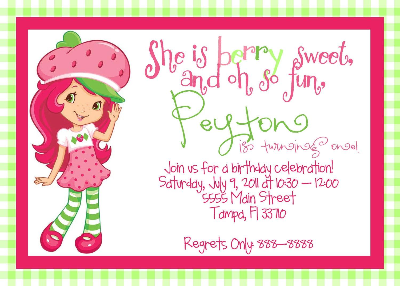 Strawberry Shortcake Birthday Invitation Wording