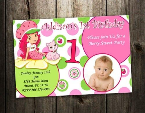 Strawberry Shortcakes 1st Birthday Invitation Free