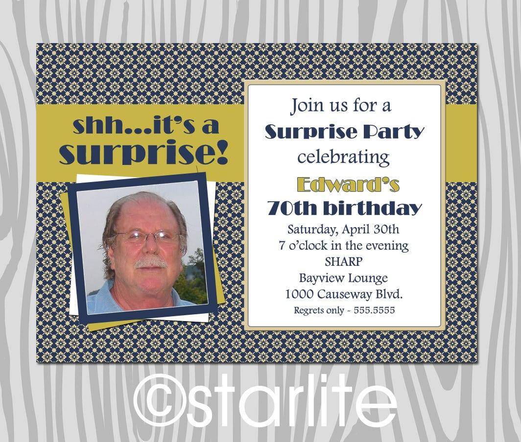 Surprise 70th Birthday Party Invitation Templates