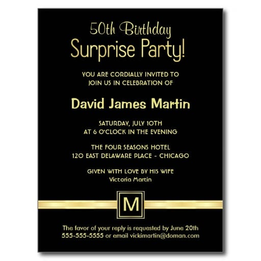 Surprise Birthday Party Invitation Samples