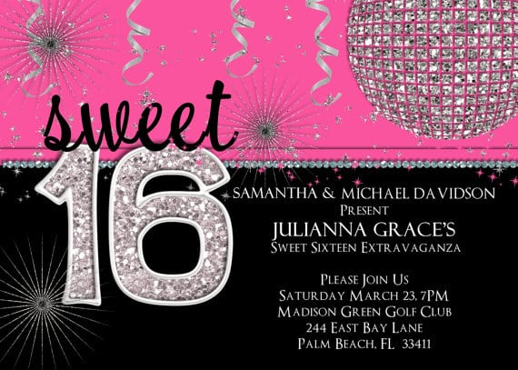 Sweet 16 Birthday Party Invitations Printable
