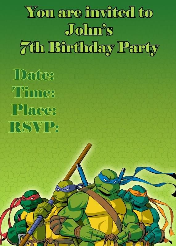 Teenage Mutant Ninja Turtles Party Invitation Template Free