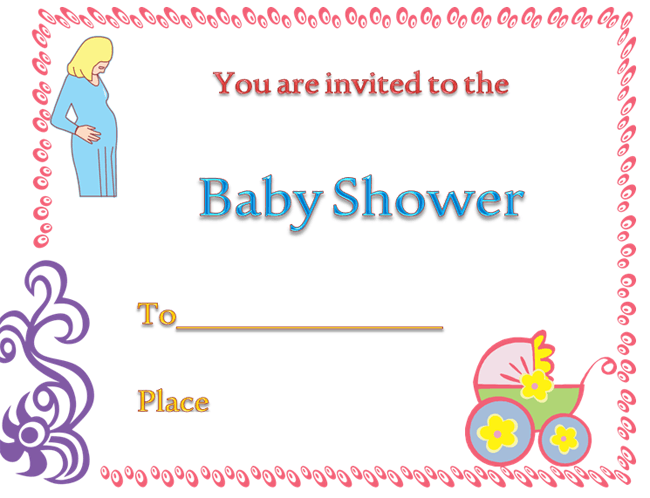 Template For Baby Shower Invitation Card